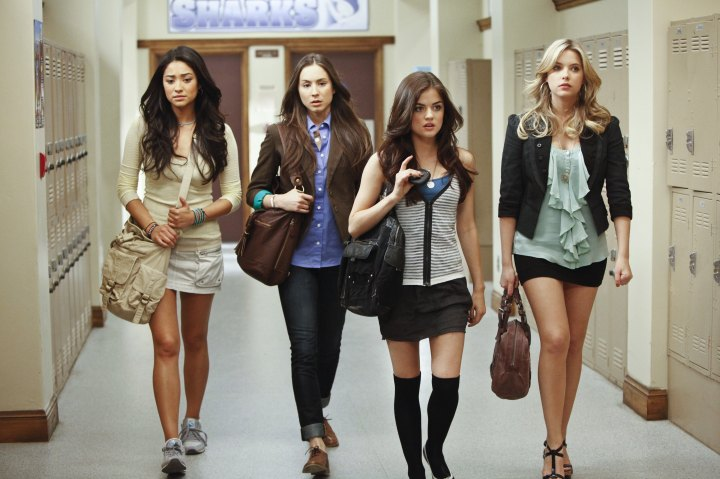 "PRETTY LITTLE LIARS - ""The Jenna Thing"" - With the return of Jenna Cavanaugh to Rosewood, the girls must face an unpleasant past as questions arise about Alison's death, in an all-new episode of ABC Family's original series, ""Pretty Little Liars,"" premiering Tuesday, June 15th (8:00 - 9:00 PM ET/PT). (Photo by Jamie Trueblood/ABC Family via Getty Images) SHAY MITCHELL, TROIAN BELLISARIO, LUCY HALE, ASHLEY BENSON"