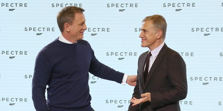 Actors from left, Daniel Craig and Christoph Waltz greet one another before they pose for photographers at the announcement for the new Bond film, the 24th in the series, at Pinewood Studios in west London, Thursday, Dec. 4, 2014. The title of the new Bond production is Spectre. (Photo by Joel Ryan/Invision/AP)